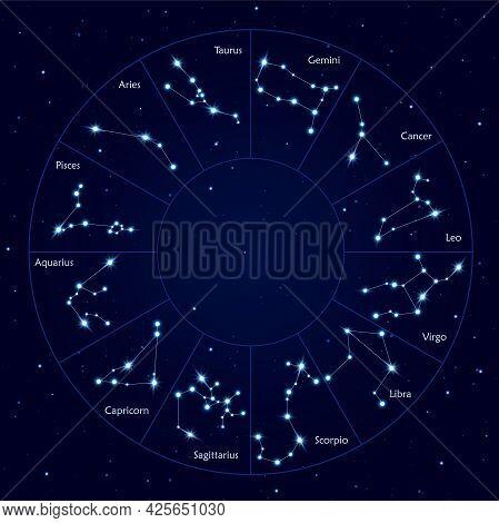 Twelve Zodiac Constellations, Horoscope Circle Vector Illustration. Fortune Determination Map On Sta