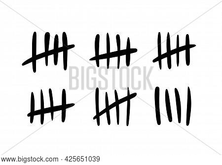 Tally Marks. The Counter Of The Lines Of Stickers On The Prison Wall. Vector Icons Of A Prison Or A