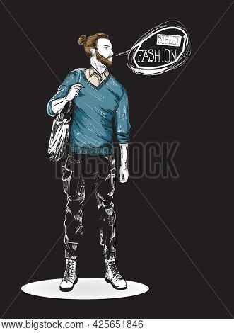 Fashion man. Sketch of fashion man on a black background. Spring man. Street style