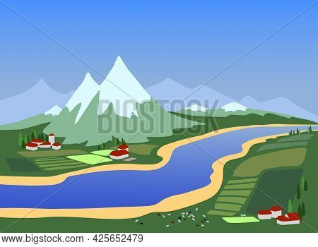 A Rural Landscape With A River, A Village, A Marble Mountain, And Vineyards, A Great Place In Italy