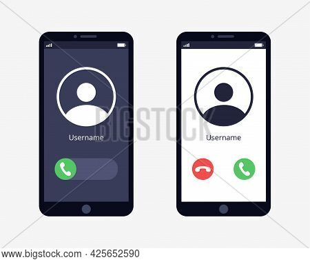 Call Screen Is Installed On The Smartphone. Accept Button, Reject Button. Incoming Call. Flat Vector