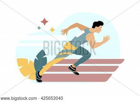 Runner. Run. Sport. Athlete. Speed And Endurance. The Man Is Running. Vector Illustration.