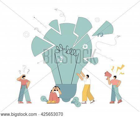 Vector Flat Illustration. Unsuccessful Project. People Look In Despair At A Broken Light Bulb, Idea,