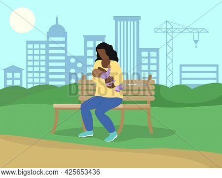 Breastfeeding In Public. African American Woman Feeds Baby In Park On Bench. Vector Flat Concept Ill