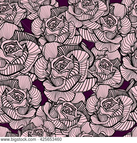 Abstract Elegance Seamless Floral Pattern. Beautiful Flowers Vector Illustration Texture With Pink R