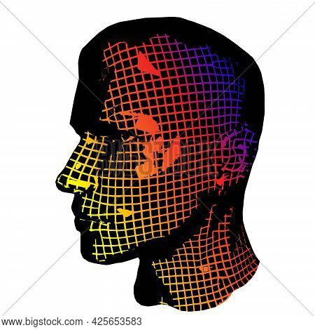 Wow Pop Art Face. Sexy Emotion Man Grid Vector Colorful Background In Cartoon Retro 3d Style Cartoon
