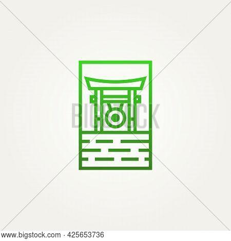 Japanese Torii Gate Gong Minimalist Line Art Logo Template Vector Illustration Design. Simple Modern