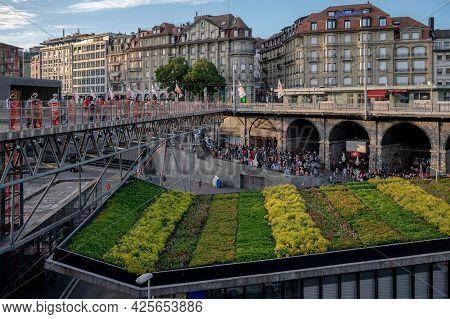 Lausanne, Canton Of Vaud, Switzerland - July 2 2021: Crowd Of People Watching Uefa Euro 2020 Footbal