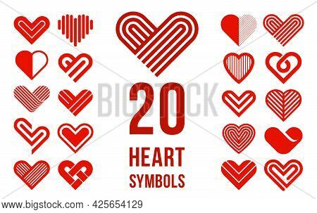Hearts Open With Doors Vector Simple Icons Or Logos Set, Graphic Design Elements With Concept Of Bei