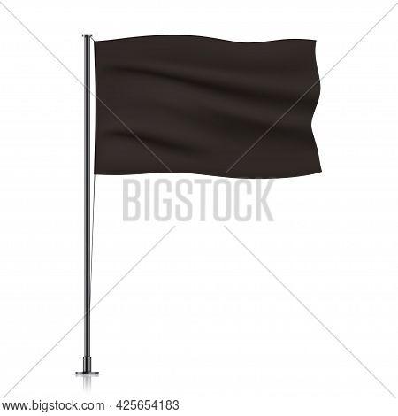 Black Vector Flag Isolated On White Background.