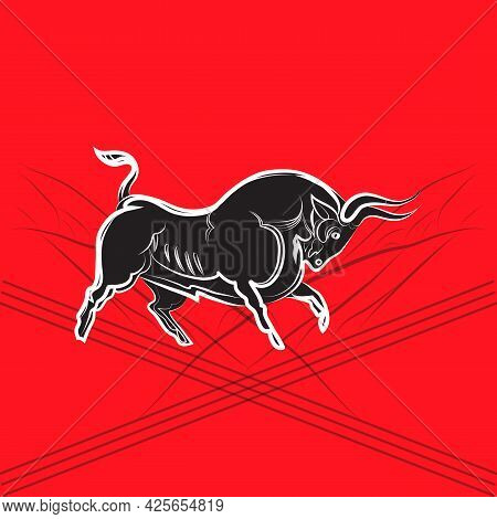 Black And White Graphic Bull Silhouette. Black Powerful Buffalo With White Outline. Hand-drawn. Anim