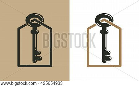 Real Estate Vector Logo, Realty Agency Emblem, Turnkey Symbol Business Identity, House For Sale Or R