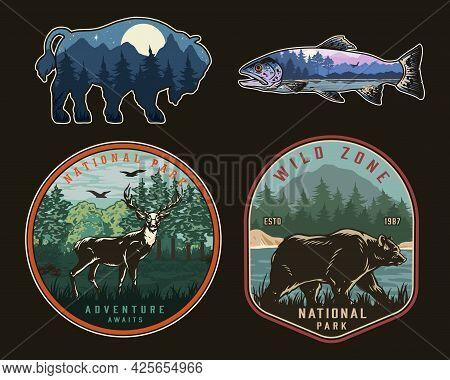 National Park Vintage Colorful Logos With Deer Walking Bear And Nature Landscapes Inside Bison And R
