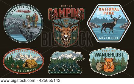 Camping Vintage Labels With Deer Backpack Wooden Log Tent Bonfire Family Couple Dog Man Standing On