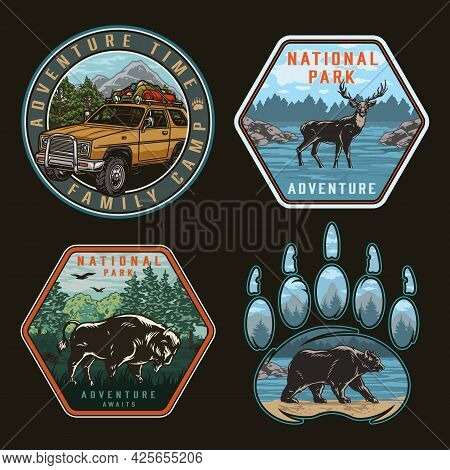 Camping And National Park Vintage Badges With Travel Car With Tourist Equipment On Roof Deer Walking