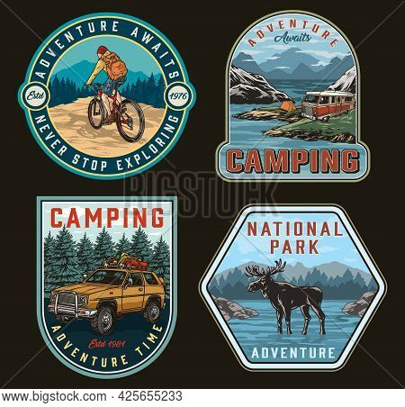 Camping Vintage Colorful Logos With Traveler Riding Bicycle Moose Travel Car With Tourist Equipment