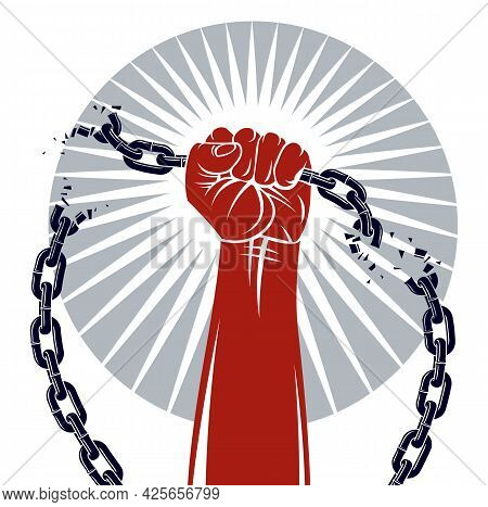 Strong Hand Clenched Fist Fighting For Freedom Against Chain Slavery Theme Illustration, Vector Logo