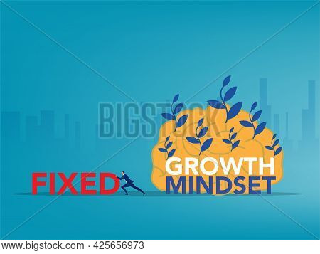 Businessman Push Big Fixed Word And Change Growth Mindset To Success Vector Illustration