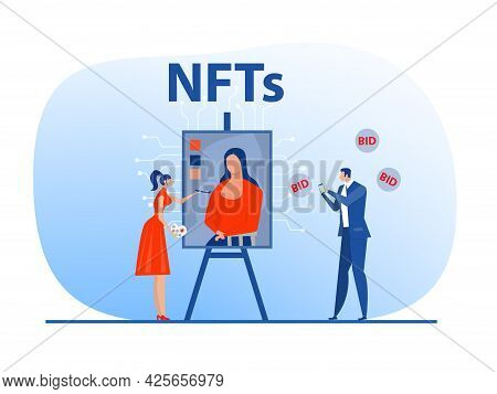 Non Fungible Token Sell And Buy Art On Market Place Illustration Landing Page For Websites, Mobile A