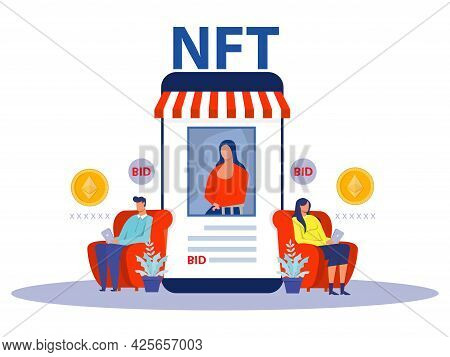 Non Fungible Token Sell And Buy Art On Market Place Illustration Landing Page For Websites; Mobile A