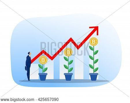 Business Strategy Analysis Stock Market With Bitcoin Upward Growth Vector Illustrator.