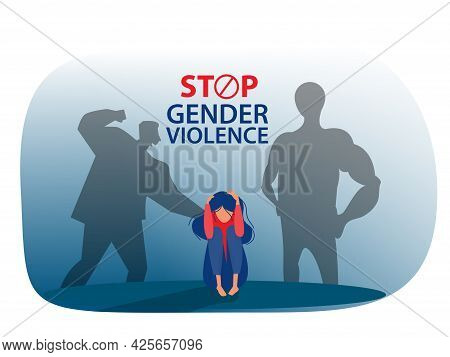 Stop  Man Gender Violence Or Or Domestic Violence Concept Vector Illustrator