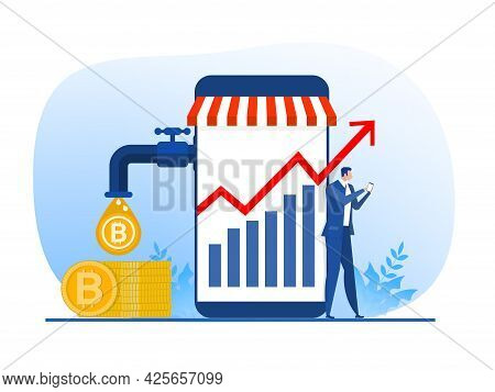 Businessman Standing Near Phone While Money Dripping. Gold Coins Pouring Out Of Faucet. Stock Market