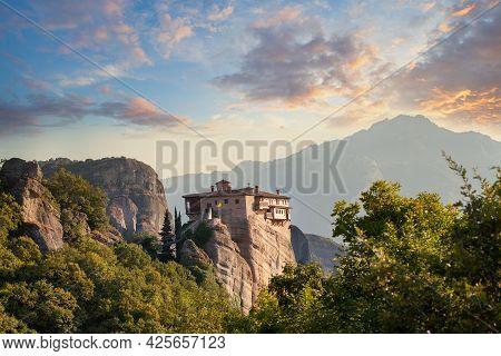 Monastery Of Rousanou In Meteora, Greece. Popular Greek Trevel Location