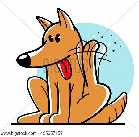 Funny Cartoon Dog Itching And Scratching Vector Flat Style Illustration Isolated On White, Cute And
