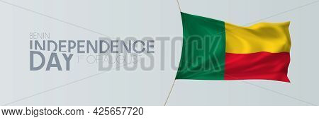 Benin Independence Day Vector Banner, Greeting Card.