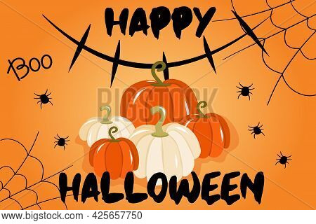 Vector Illustration With Banner For Halloween Or Invitation To Party With Cobwebs, Pumpkins And A Si