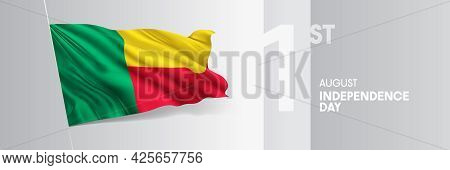 Benin Happy Independence Day Greeting Card, Banner Vector Illustration
