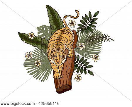 Jungle Cartoon Tropical Bengal Tiger Animal Printable Art. Palm Exotic Wildlife Cat Illustration. Ch