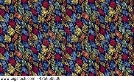 Wavy Seamless Vector Pattern. Doodle Hand Drawn Pattern Seamless. Print Pattern Retro Geometric Tile