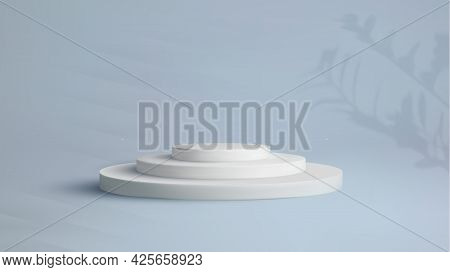 White Podium On Blue Pastel Background Empty Product Stand. Vector 3d Podium. Eps 10