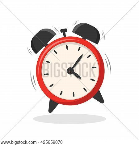 Red Alarm Clock Isolated On White Background. Alarm Clock Is Ringing.    Vector Stock