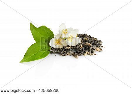 Jasmine Tea With Jasmine Flowers Isolated On White Background