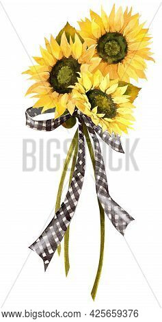 Watercolor Fall Sunflower , Rustic Clipart. Autumn Harvest Clip Art, Thanksgiving Day Art,