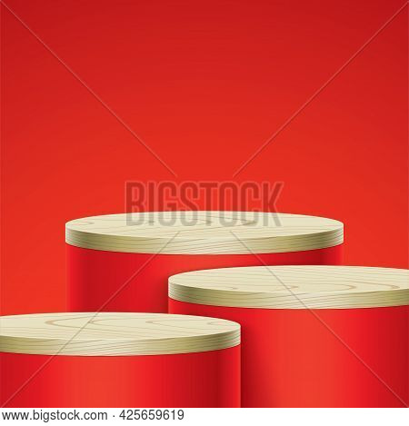 Vector Scene With Red Color Oval Stands.
