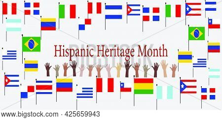 Group Of Hands With Different Color And Flags Of America. Cultural And Ethnic Diversity. National Hi