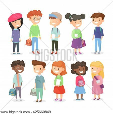 Vector Illustration Of Pupils Isolated On White Background. Cute And Happy Girls And Boys, Schoolchi