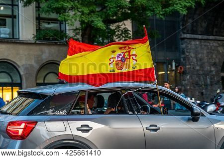 Lausanne, Vaud Canton, Switzerland - July 2 2021: Spain People Celebrating Victory Of Football Match
