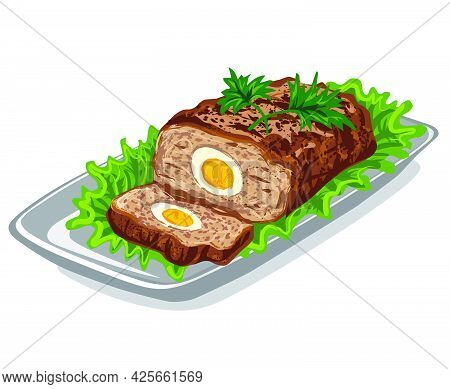 Illustration Of The Meat Loaf With Lettuce And Stuffed Eggs On The Plate