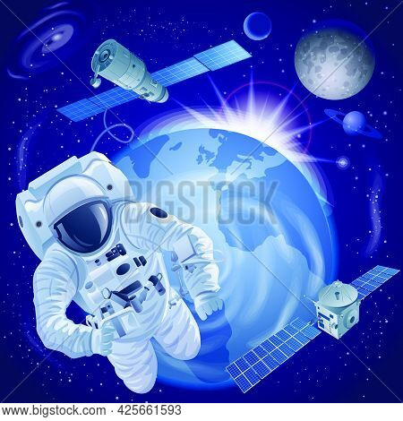 Concept Illustration Of The Exploration Of The Galaxy And Space, Astronaut And Space Ships And Satel