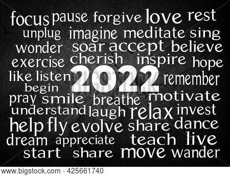 New Year 2022 Inspirational Word Cloud 3d Illustration On Black Slate Rock Background