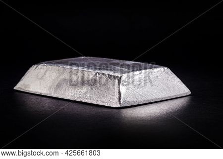 Ingot Or Zinc Bar Isolated On Insulated Black Background, Metal Used In The Production Of Alloys Or