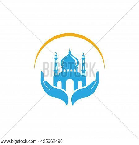 Muslim Prayer Sign Icon Vector Design. Mosque Vector Design Isolated On Hand Illustration.