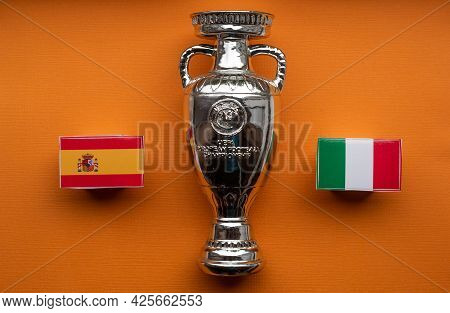 July 3, 2021 London, United Kingdom. Flags Of The Participants Of The Semi-finals Of The European Fo