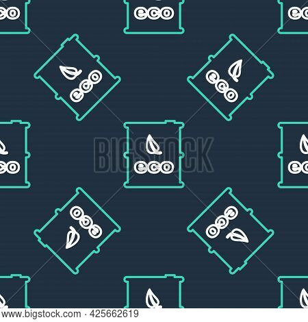 Line Bio Fuel Barrel Icon Isolated Seamless Pattern On Black Background. Eco Bio And Canister. Green