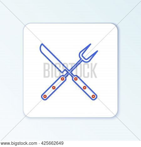 Line Crossed Fork And Knife Icon Isolated On White Background. Bbq Fork And Knife Sign. Barbecue And